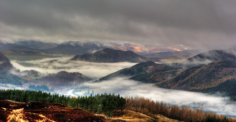 Perthshire Hills in Autumn Mist