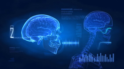 Brain concept - science medical display in loop with data