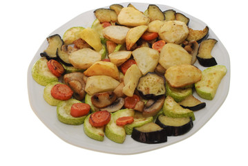 baked vegetables on plate isolated