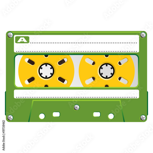 Audio Cassette with transparent box over white