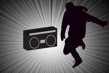 Breakdancer Dancing with Old School Boom Box Silhouette