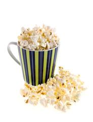 Popcorn in a striped mug