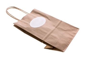 Paper bag with label