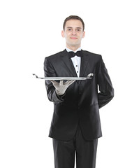 Young person holding a tray