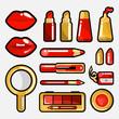 lips cosmetic icon set
