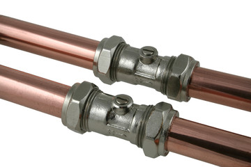 copper pipe and service valves