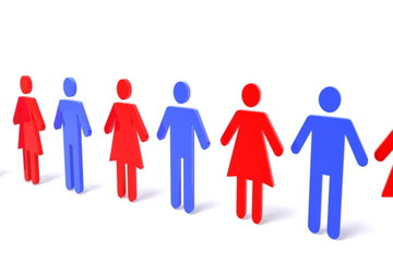 3D woman and man symbol standing in line concept