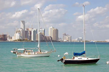 Sailboats at Anchor on Biscayne Bay