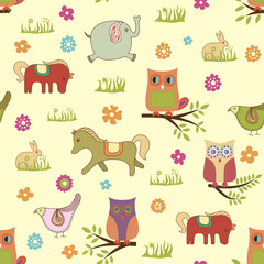 abstract floral animals pattern