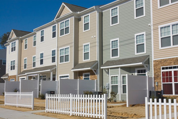 Row of newly build townhouses