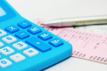 Blue calculator and billing