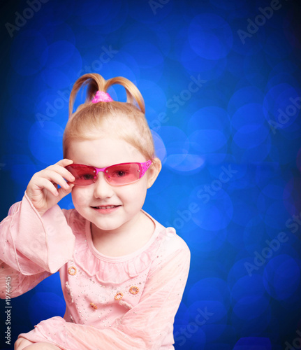 beautiful girl on blue background