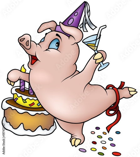 Happy Birthday Cartoon Images. Dancing Pig - Happy Birthday