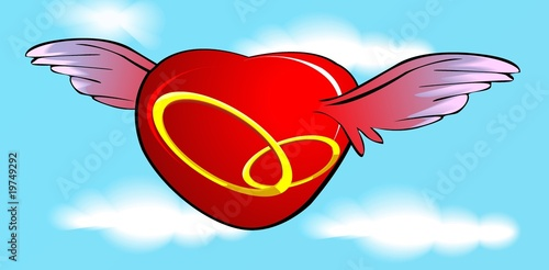 Illustration of flying the heart symbols with bangles