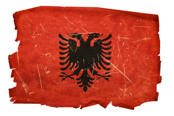 Albania Flag old, isolated on white background.