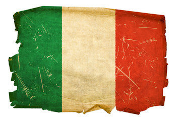 Italy Flag old, isolated on white background.