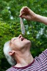 Dutch man is eating herring