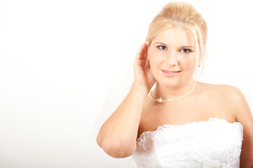 Young beautiful bride in white dress. copy-space