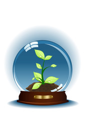 Vector illustration of sphere with small plant