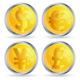vector web buttons set with money signs . Eps10 version poster