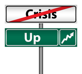 Road Sign The end of crisis, isolated