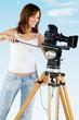 Hübsche Frau mit Mittelformatkamera