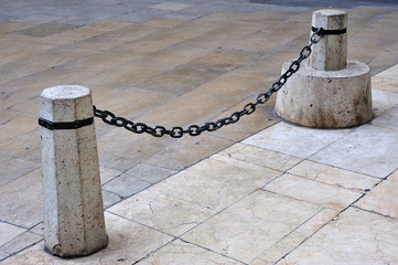 chain and stone bollards