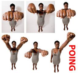 jeune femme active noire présente ses poings
