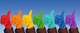 Fototapety Hands in rainbow gloves show gesture ok, collage