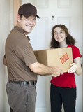 Delivery Man and Satisfied Customer poster