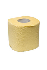 Roll of a yellow toilet paper.