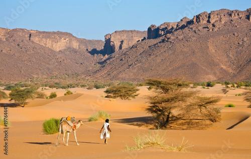 Papiers peints Desert de sable Chamelier et son chameau dans le désert