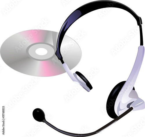 headphones with mic and a Compact disc