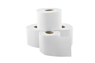 four rolls of toilet paper isolated on white