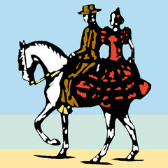 bullfighter, bull, typical spanish vector illustration