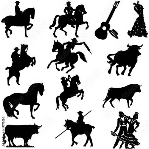 Set silhouette spanish flamenco vector illustration bull