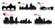 Detailed vector silhouettes cities