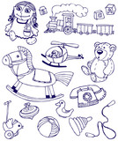 Collection of doodles toys poster
