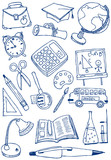 Collection of school (education) doodles poster