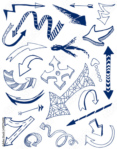 Arrows doodles set.