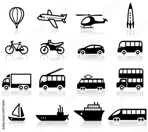 Set of 16 transport icons
