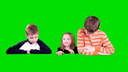 Three Curious Kids Pop Up from Behind Green Screen