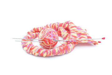 Colorful knitting tool with wool thread ball
