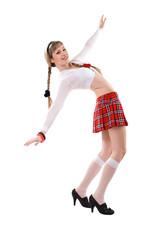 playful sex girl in uniforml dances