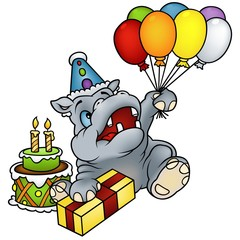 Hippo Happy Birthday - detailed colored illustration