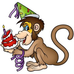 Monkey Happy Birthday - detailed colored illustration