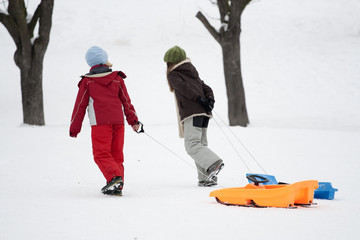 Children pulling sledge