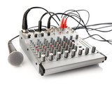 DJ control panel for sound regulation poster