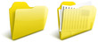 Realistic blurry transparent yellow folder vector icon - EPS 10