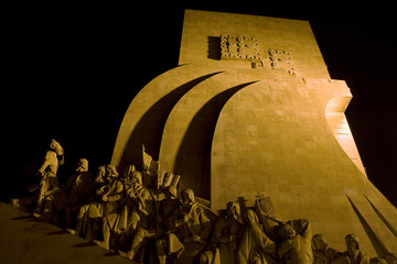 The monument for the discoveries in portugal at night